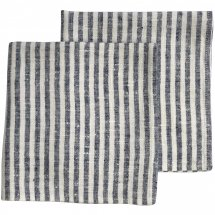 Linen napkins Catalina Deep Blue White Stripe