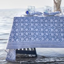 Cotton table cloth Paradise Navy Blue