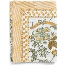 Cotton table cloth Floral Ochre