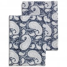 "Kitchen towel, set with 2 ""Big Paisley Big Navy Paisley Blue"""