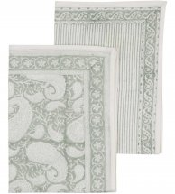 "Kitchen towel, set with 2 ""Big Paisley Sea Foam Green"""