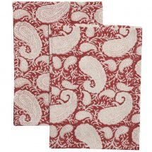 2 kitchen towels Big Paisley Red