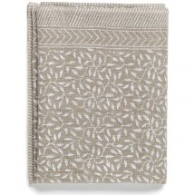 Linen table cloth Leaf White