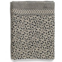 Linen table cloth Leaf Dark Blue