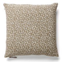 Linen cushion cover Leaf White