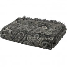 Throw Grey/Black Paisley