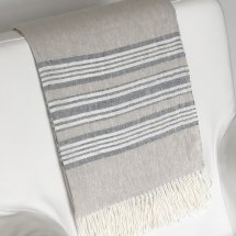 Linen throw Breeze Natural Indigo