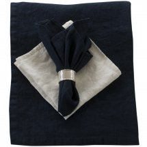 Linen table cloth Riviera Midnight Blue