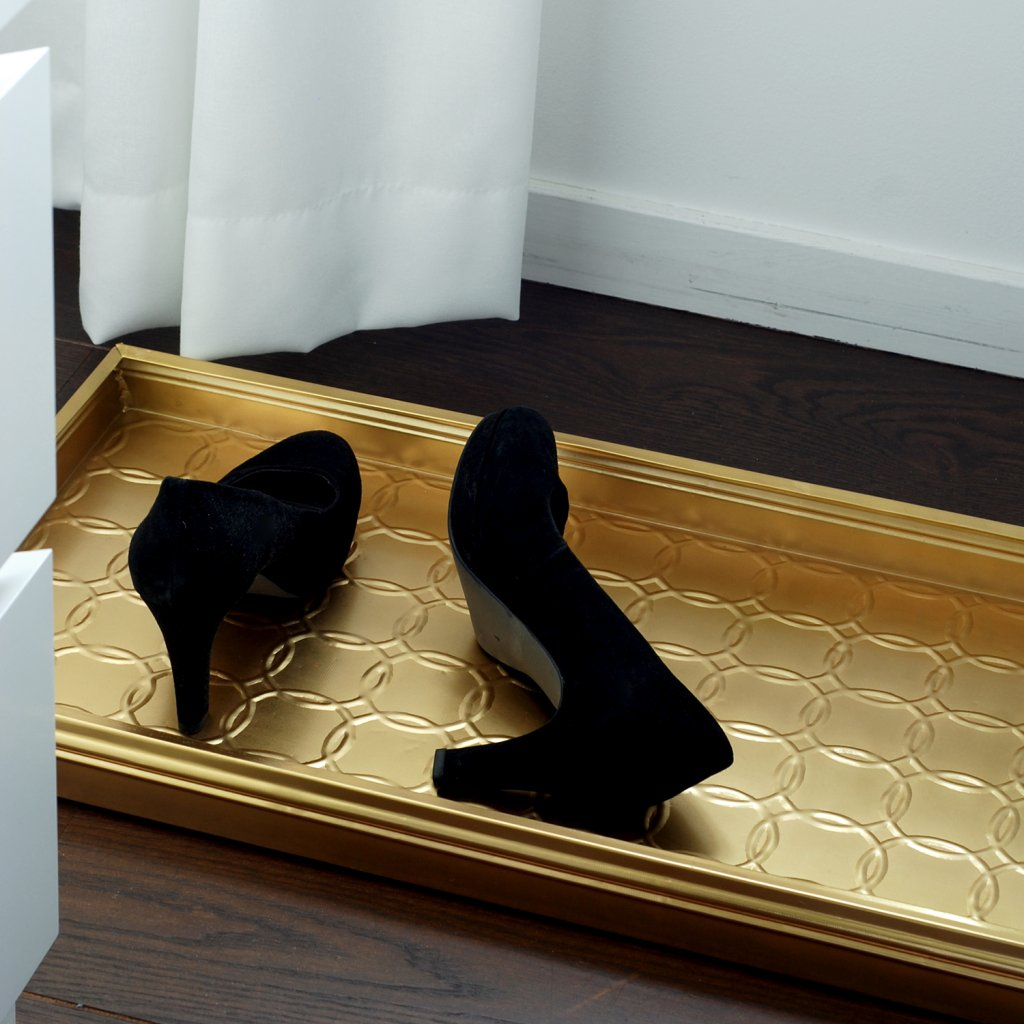 Picture of: Boot Tray With Circles Brass