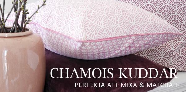 Återförsäljare av Chamois textilier med blockprint. Kuddar, dukar, plädar, överkast.