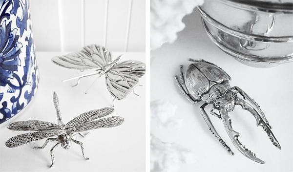 Fjäril och trollslända i silver.