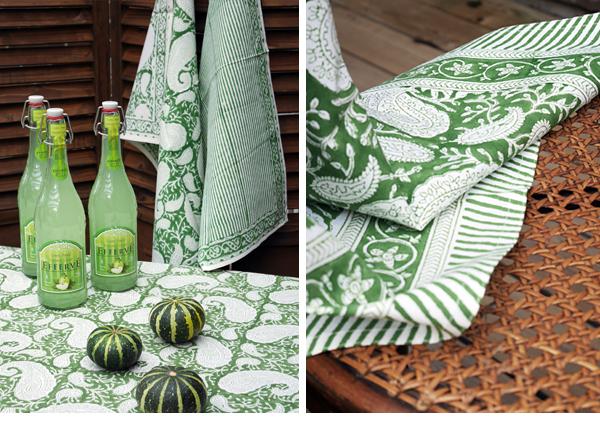 Grön paisleymönstrad duk från Chamois.