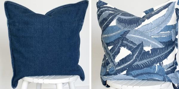 Jeans kudde i denimtyg och kudde med blad