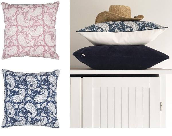 Paisleymönstrade kuddar från Chamois i blått och rosa